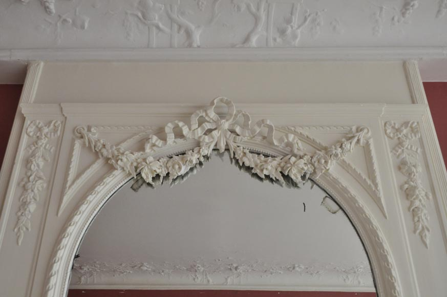 Antique Louis XVI style white overmantel pierglass with garlands of flowers and knot -1