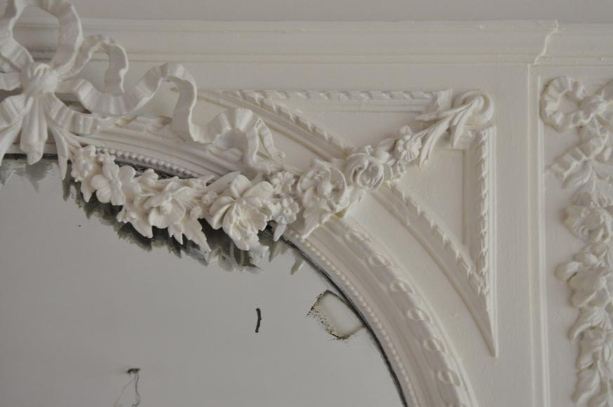Antique Louis XVI style white overmantel pierglass with garlands of flowers and knot -3