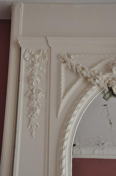 Antique Louis XVI style white overmantel pierglass with garlands of flowers and knot -5