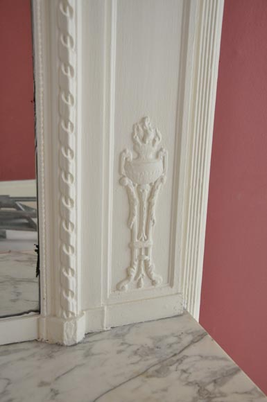 Antique Louis XVI style white overmantel pierglass with garlands of flowers and knot -6