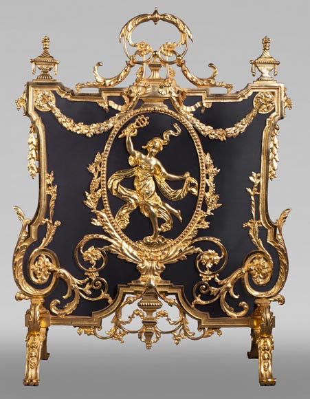 Antique Napoleon III style firescreen made of gilt bronze with dancer-0