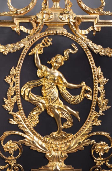 Antique Napoleon III style firescreen made of gilt bronze with dancer-4
