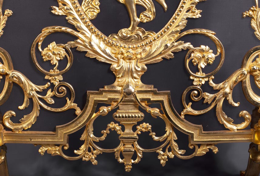 Antique Napoleon III style firescreen made of gilt bronze with dancer-6