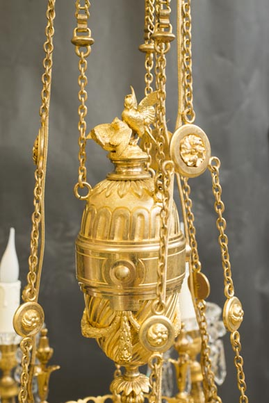 Napoleon III style chandelier in gilded bronze and Baccarat crystal-1