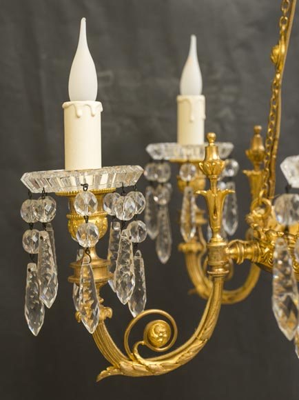 Napoleon III style chandelier in gilded bronze and Baccarat crystal-3