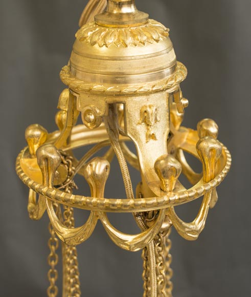 Napoleon III style chandelier in gilded bronze and Baccarat crystal-6
