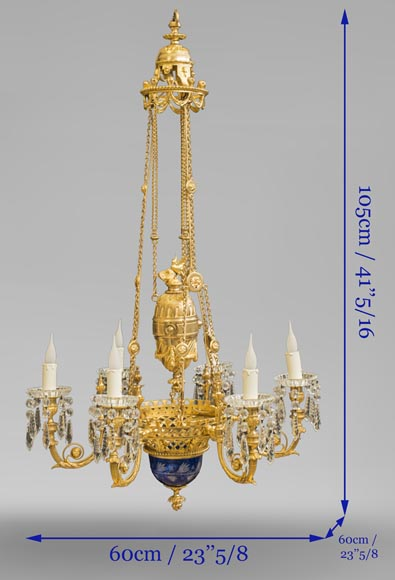 Napoleon III style chandelier in gilded bronze and Baccarat crystal-7