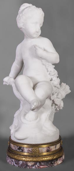 Young girl sitting, sculpture made out of statuary marble-0