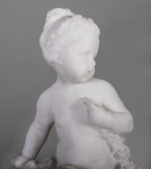 Young girl sitting, sculpture made out of statuary marble-3