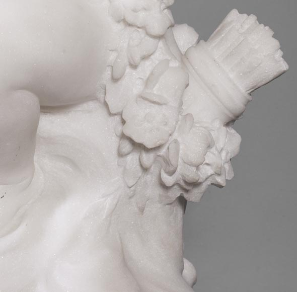 Young girl sitting, sculpture made out of statuary marble-5