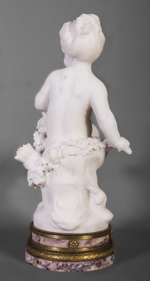 Young girl sitting, sculpture made out of statuary marble-7