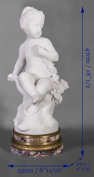Young girl sitting, sculpture made out of statuary marble-8