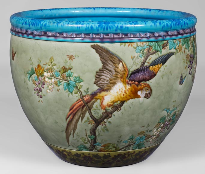 Théodore DECK (1823-1891), glazed ceramic cachepot with a parrot and butterflies-0