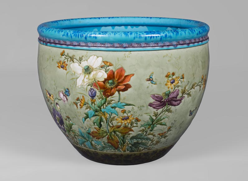 Théodore DECK (1823-1891), glazed ceramic cachepot with a parrot and butterflies-1