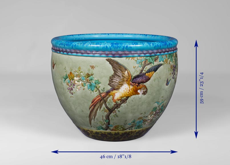 Théodore DECK (1823-1891), glazed ceramic cachepot with a parrot and butterflies-6