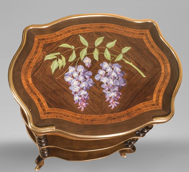 Julien-Nicolas RIVART (1802-1867) - Small bedside table decorated with wisteria in porcelain marquetry-0