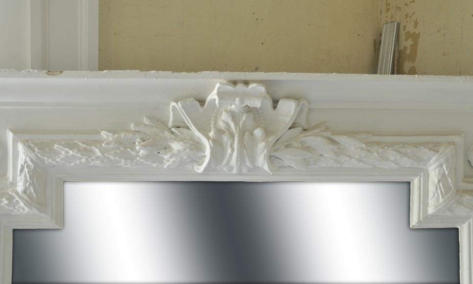 Antique Napoleon III overmantel pierglass with friezes of laurel branches and wide shell-1