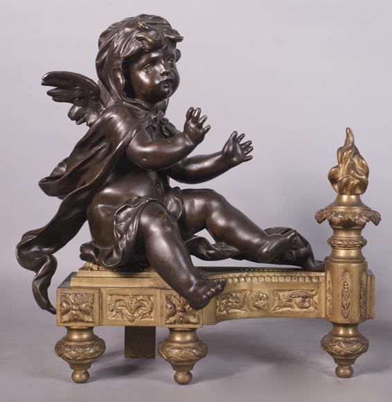 Putti warming up - Pair of gilded bronze ad brown patina bronze chenets-1