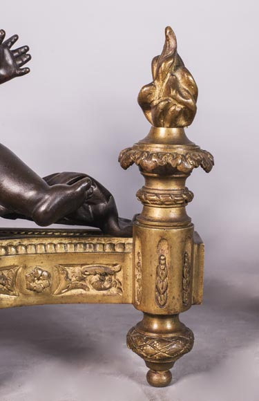 Putti warming up - Pair of gilded bronze ad brown patina bronze chenets-3