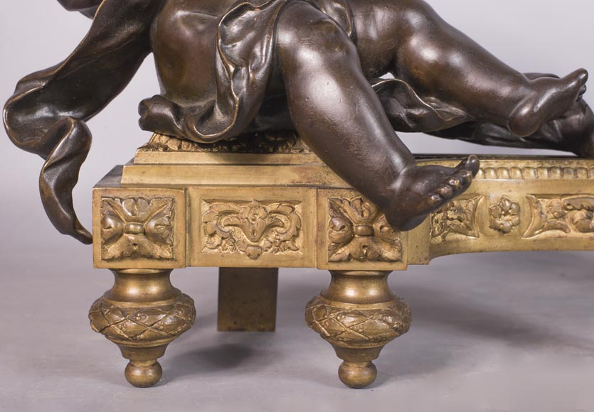 Putti warming up - Pair of gilded bronze ad brown patina bronze chenets-4