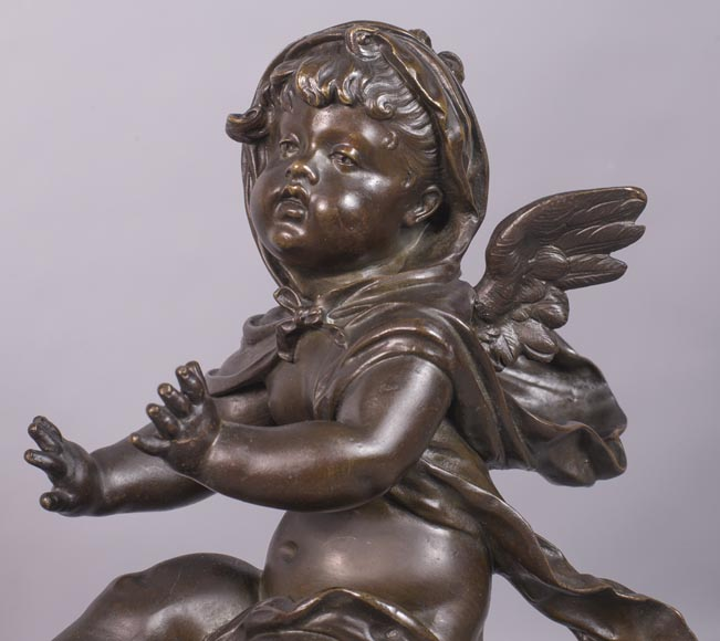 Putti warming up - Pair of gilded bronze ad brown patina bronze chenets-5