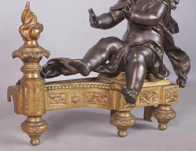 Putti warming up - Pair of gilded bronze ad brown patina bronze chenets-6