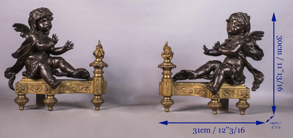 Putti warming up - Pair of gilded bronze ad brown patina bronze chenets-7