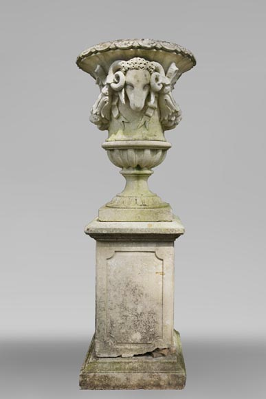 Antique Napoleon III vase in the shape of a baluster made of stone and adorned with ram's heads - Reference 11093
