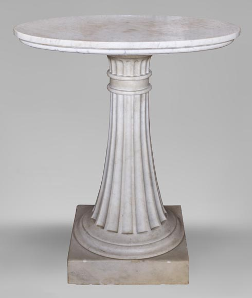 Neoclassical style pedestal table made out of Carrara marble-0