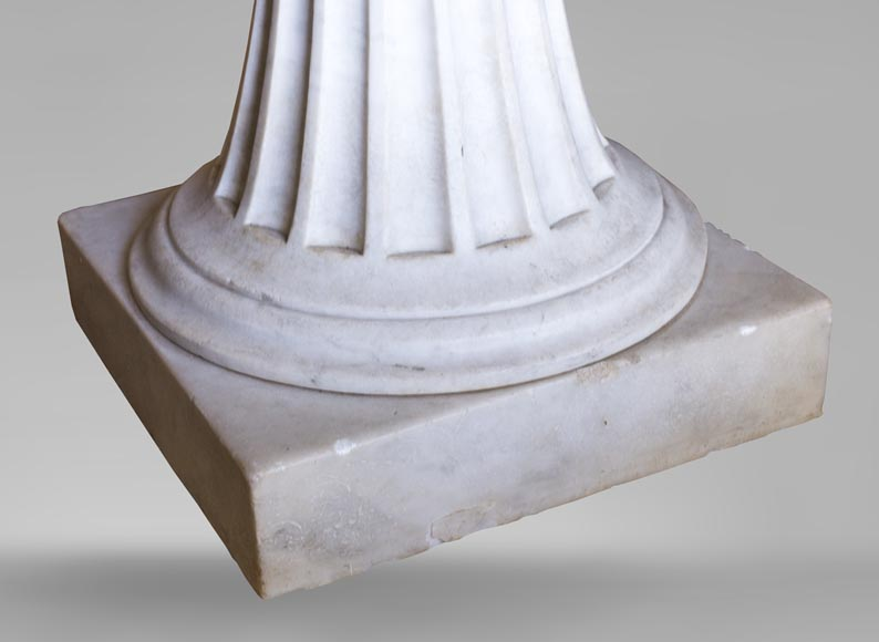Neoclassical style pedestal table made out of Carrara marble-2