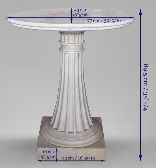 Neoclassical style pedestal table made out of Carrara marble-4