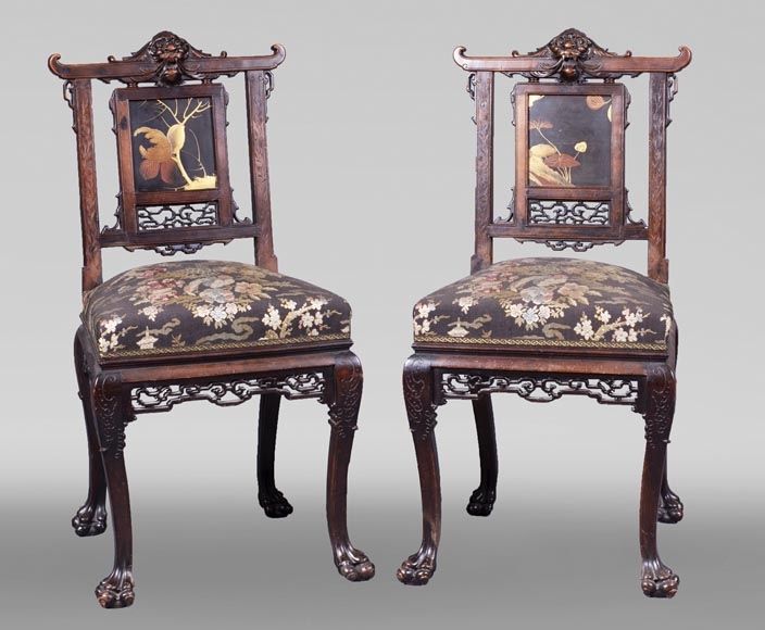 Pair of chairs inspired by the Far East-0