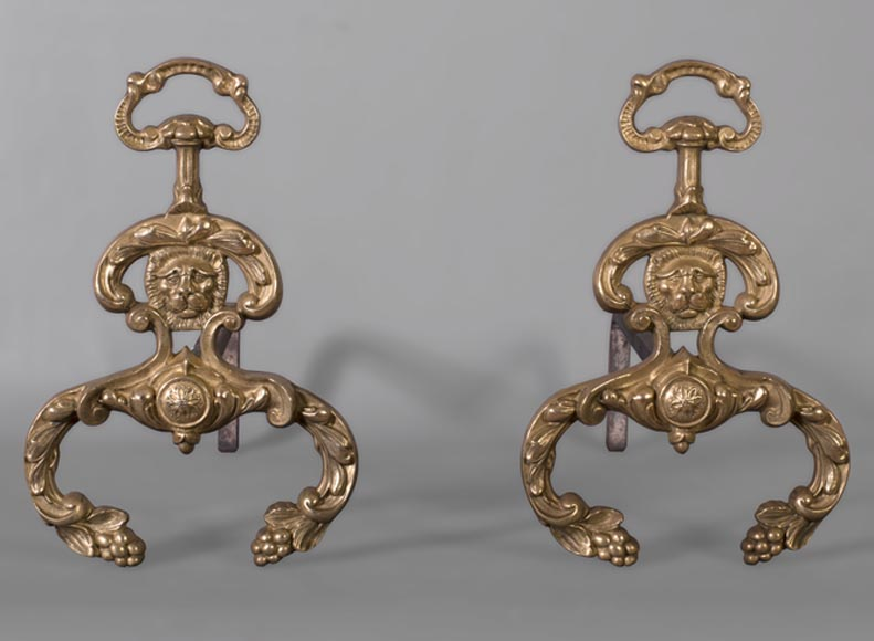 Beautiful pair of antique Napoleon III style andirons in varnished bronze with lion heads-0