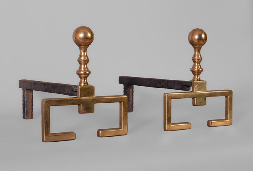 Pair of Art Deco andirons in brass - Reference 11113