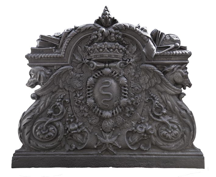 Exceptional antique cast iron fireback with the coat of arms of Jean-Baptiste Colbert, marquis of Seignelay-0