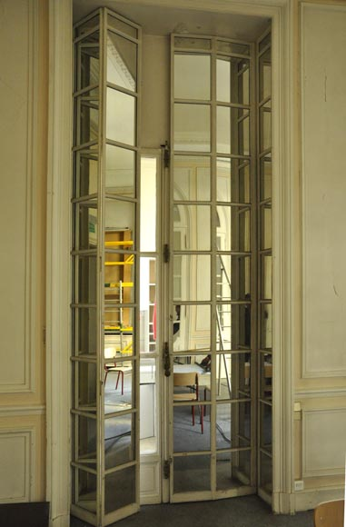 Three pairs of interior shutters made of metal with mirrors-5