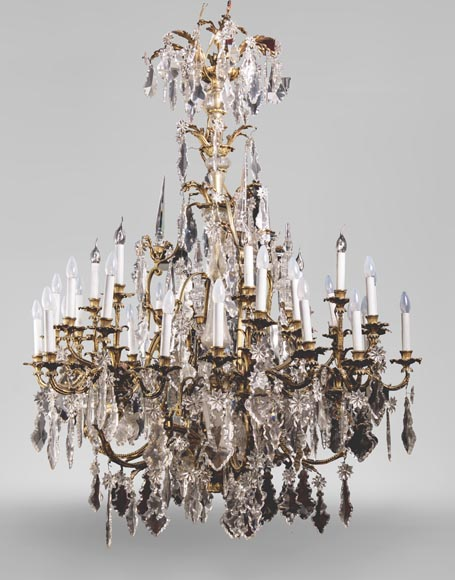 Large antique Napoleon III style chandelier with pendants-0