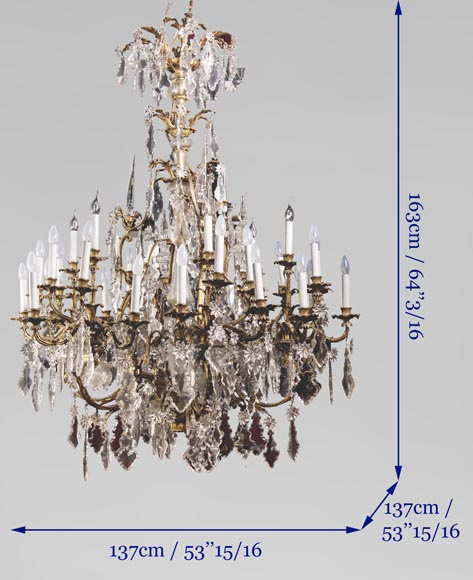 Large antique Napoleon III style chandelier with pendants-8
