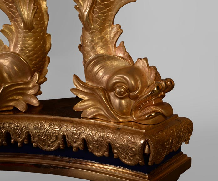 Exceptional pair of Napoleon III style andirons with putti made of gilt bronze and blue lacquered bronze -8