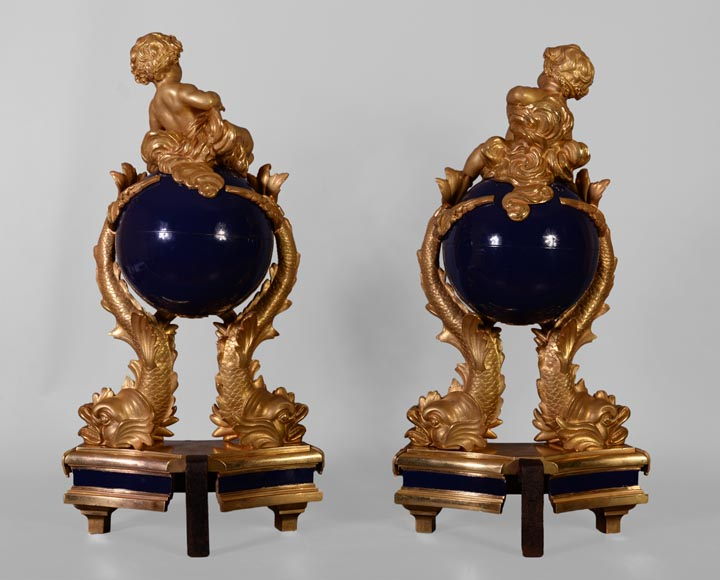 Exceptional pair of Napoleon III style andirons with putti made of gilt bronze and blue lacquered bronze -9