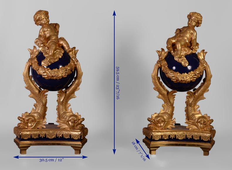 Exceptional pair of Napoleon III style andirons with putti made of gilt bronze and blue lacquered bronze -10