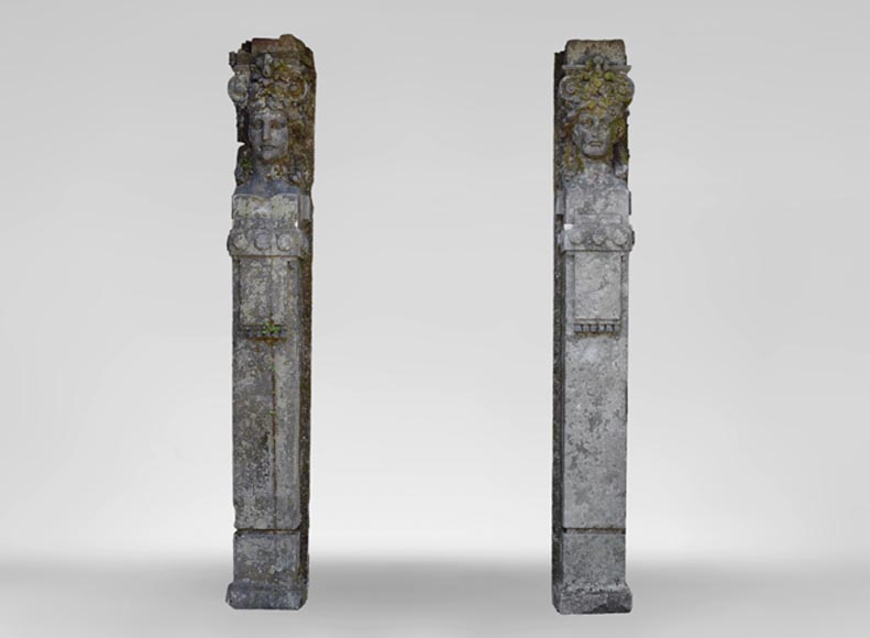 An Exceptional pair of terms made of sandstone from a set of four from the Palais du Rhin - Reference 11142