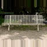 Antique white garden bench with perforated decoration, 1930s