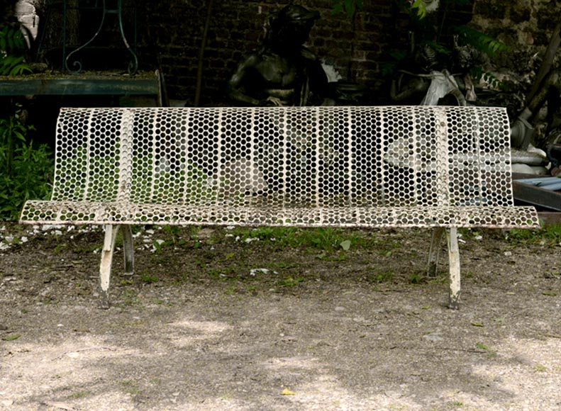 Antique white garden bench with perforated decoration, 1930s-0
