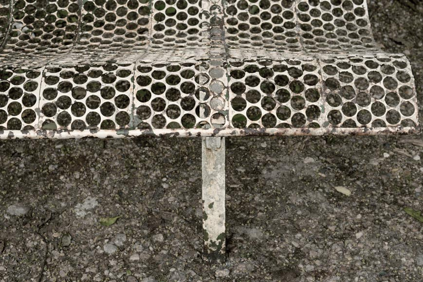Antique white garden bench with perforated decoration, 1930s-2