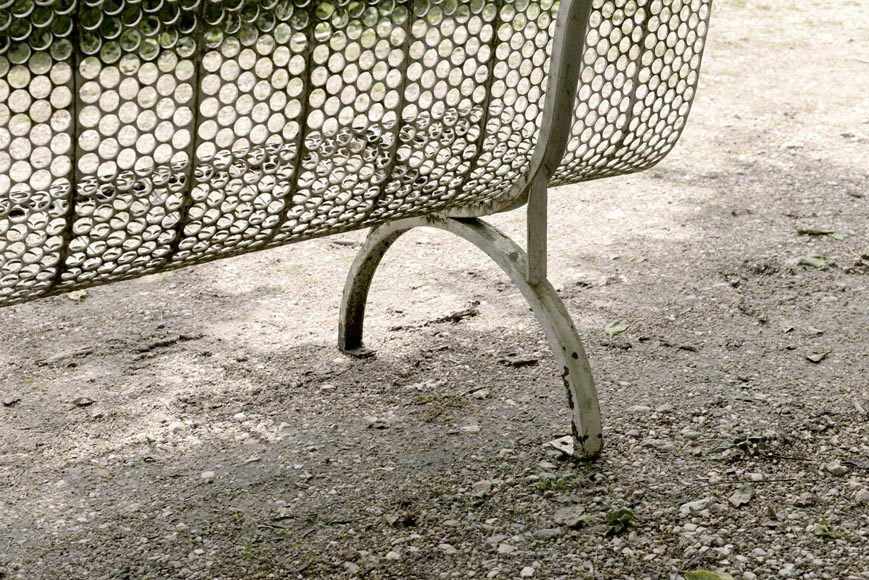 Antique white garden bench with perforated decoration, 1930s-3
