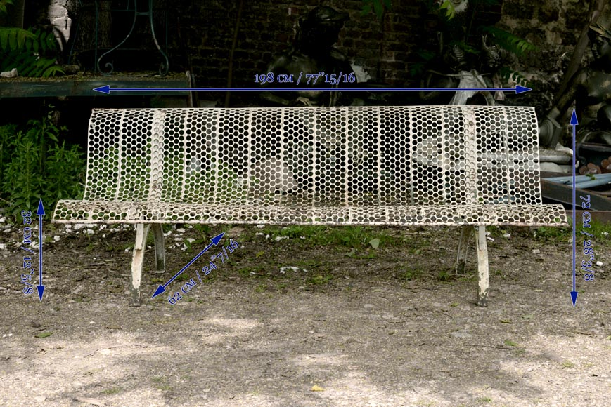 Antique white garden bench with perforated decoration, 1930s-6
