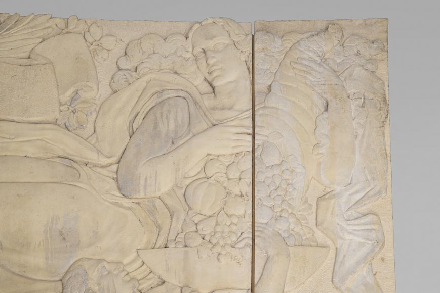 Maternity and Agriculture, important monumental Art Deco bas-relief in composite stone, signed-2