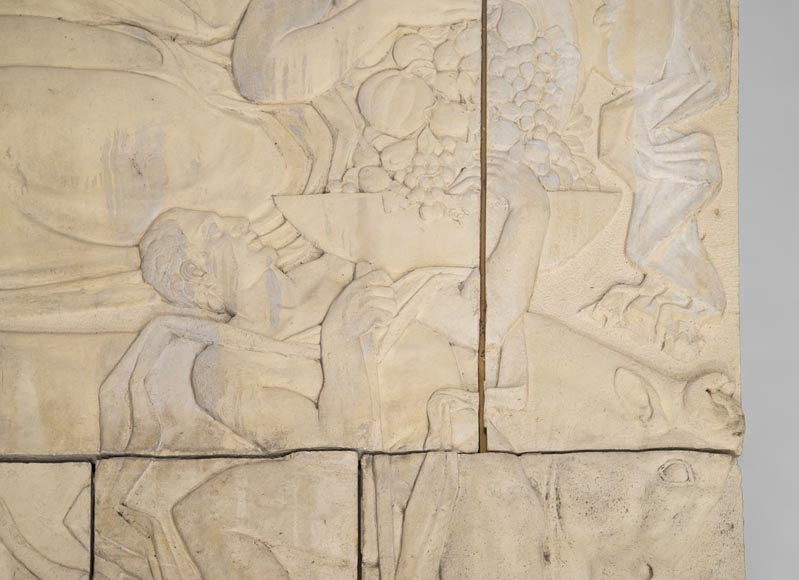 Maternity and Agriculture, important monumental Art Deco bas-relief in composite stone, signed-3
