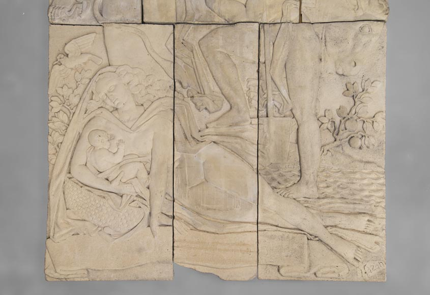 Maternity and Agriculture, important monumental Art Deco bas-relief in composite stone, signed-4